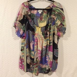 NWOT Allison Taylor Paisley Short Sleeve Top 2x